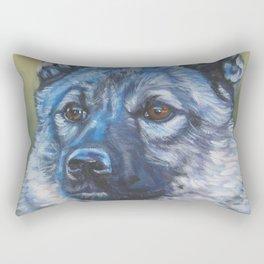 Norwegian Elkhound dog art portrait from anoriginal painting by L.A.Shepard Rectangular Pillow