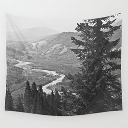 River through the Mountains Wall Tapestry