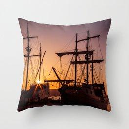 A sailer in the bay of Senj, Croatia Throw Pillow