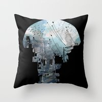 navy Throw Pillows featuring Secret Streets II by David Fleck