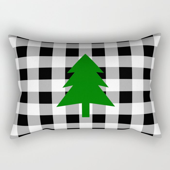 Christmas Tree - black buffalo check Rectangular Pillow