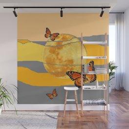 MOON & MONARCH BUTTERFLIES DESERT SKY ABSTRACT ART Wall Mural