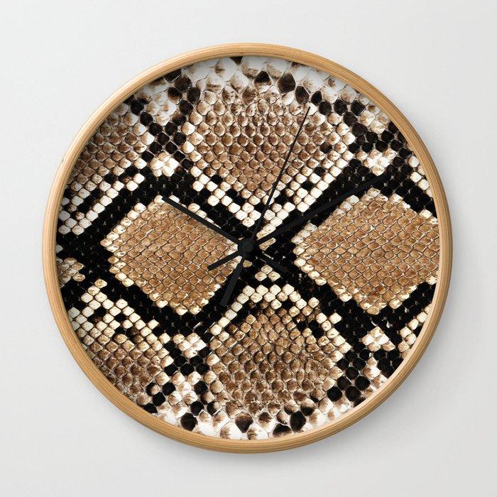 Pastel brown black white snakeskin animal pattern Wall Clock