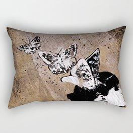 Long Gone Whisper II (street art graffiti painting, girl with butterflies) Rectangular Pillow