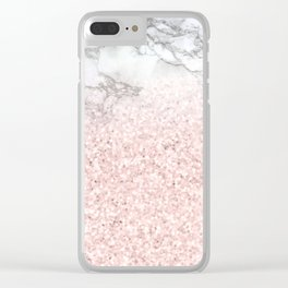 She Sparkles - Pastel Pink Glitter Rose Gold Marble Clear iPhone Case