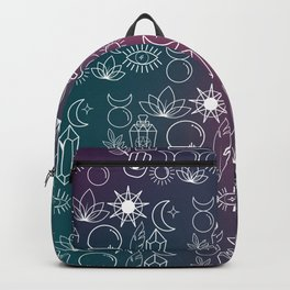 Magical Wiccan Tools on a Gradient Background Backpack