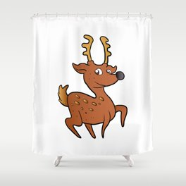 brown  deer cartoon Shower Curtain