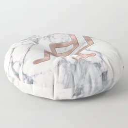 Rose Gold Salon Chair on Marble Background - Salon Decor Floor Pillow