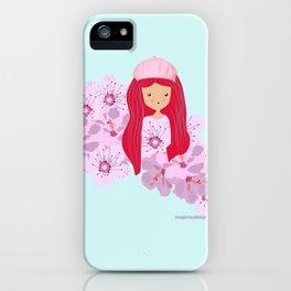Girl on flowers iPhone Case