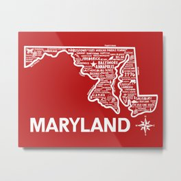 Maryland Map Metal Print