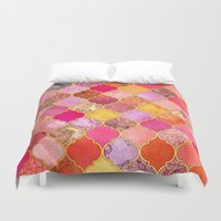 bedding Duvet Covers featuring Hot Pink, Gold, Tangerine & Taupe Decorative Moroccan Tile Pattern by micklyn