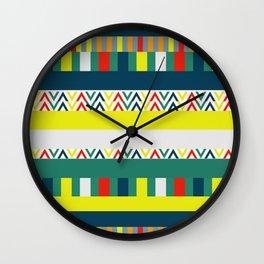 Festive happy stripes Wall Clock
