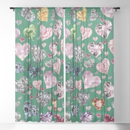 Heart Diamonds are Forever Love Green Sheer Curtain