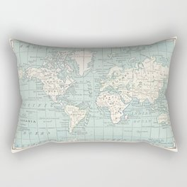 World Map in Blue and Cream Rectangular Pillow
