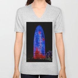 Torre Agbar Barcelona Unisex V-Neck
