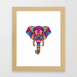 Elephant   Geometric Colorful Low Poly Animal Set Framed Art Print