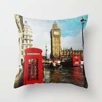england Throw Pillows featuring London, England by Abby Gracey