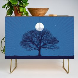 Moonrise of a winter tree Credenza