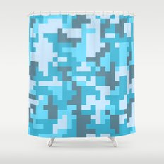 Turquoise Camo pattern Shower Curtain