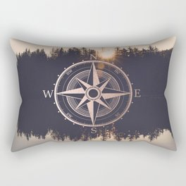 Rose Gold Compass Forest Rectangular Pillow