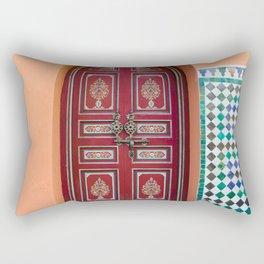 Moroccan Tile Mosaic Door in Marrakech, Morocco Rectangular Pillow