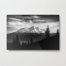 Mount Shasta Morning in Black and White Metal Print