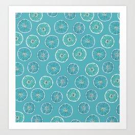 Turquois Oranges Pattern Art Print