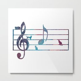 Musical Note With Cats Metal Print