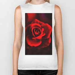 Red rose on red Biker Tank
