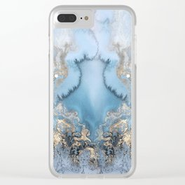 GOLD CLOUDS MARBLE Clear iPhone Case
