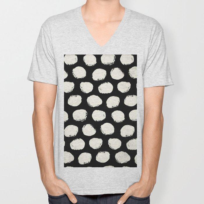 Trendy Cream Polka Dots on Black Unisex V-Neck