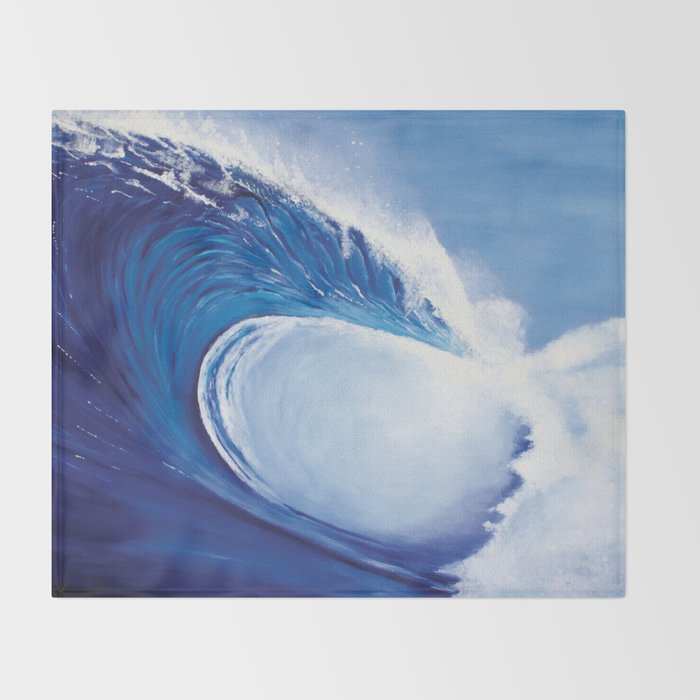 Ocean Wave Painting Throw Blanket