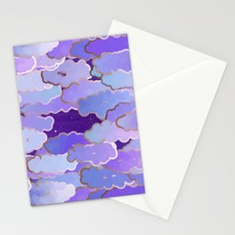 Japanese Clouds, Twilight, Violet and Deep Purple Stationery Cards