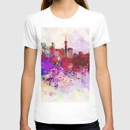 Jeddah skyline in watercolor background T-shirt