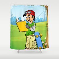 super heroes Shower Curtains featuring Super Heroes Act Wisely by youngmindz