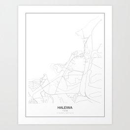 Haleiwa, Hawaii Minimalist Map Art Print