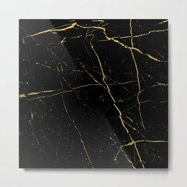 Marble Gold & Black Metal Print
