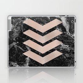 Black marble & rose gold chevrons Laptop & iPad Skin