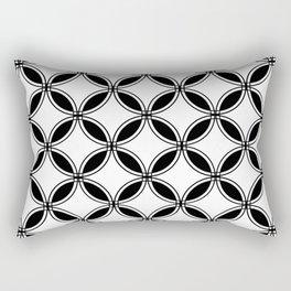 Large White Geometric Circles Interlocking on Black Background Rectangular Pillow
