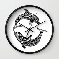 dolphins Wall Clocks featuring Dolphins by Emma Barker