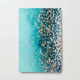 Abstract Turquoise Ocean, Aerial Blue Sea Print, Large Ocean Poster, Coastal Wall Art, Beach Decor Metal Print
