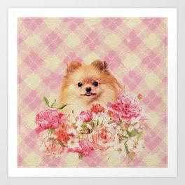 Cute Pomeranian German Spitz wiht Flowers Art Print