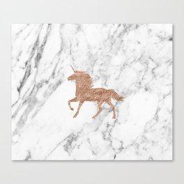 Rose gold unicorn on marble Canvas Print