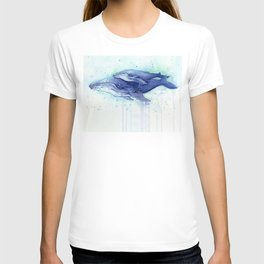 Humpback Whale Watercolor Mom and Baby Painting Whales Sea Creatures T-shirt