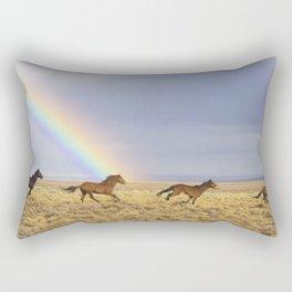 Wild Horses Before A Rainbow Rectangular Pillow