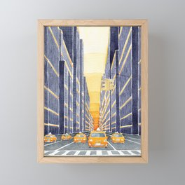 NYC, yellow cabs Framed Mini Art Print