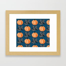 Teal Pumpkin Fall Leaf Framed Art Print