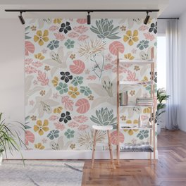 Dusky Japanese pond florals Wall Mural