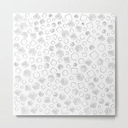 Polygons in Black outline Metal Print