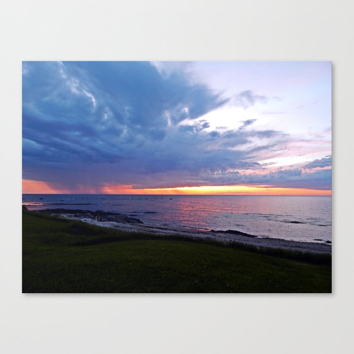 Sunset at Sea and the Rain Storm Canvas Print